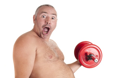 an obese man, exercising to get fit Stock Photo
