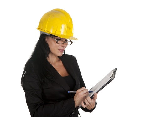 one female boss of work, working Stock Photo - 16299974
