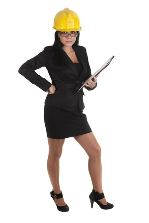 one female boss of work, working Stock Photo - 16299973