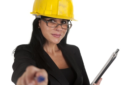 one female boss of work, working Stock Photo - 16299961