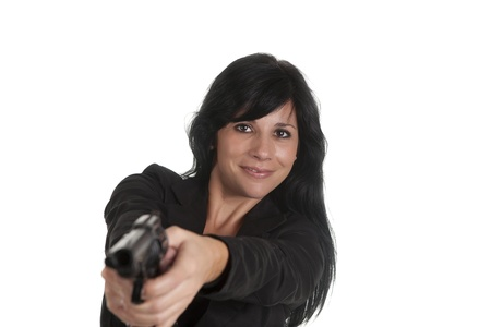 a sexy woman, committing a robbery Stock Photo - 16407716