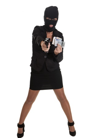 a sexy woman, committing a robbery Stock Photo - 16407705