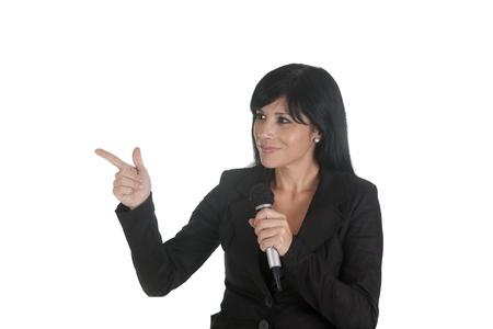 an executive, lecturing with a microphone Stock Photo - 16584125
