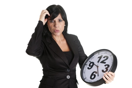 a businesswoman with a clock Stock Photo - 16584136