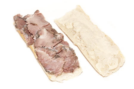 a sandwich of shredded beef, open on two sides Stock Photo - 17098761