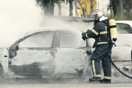 a fire emergency, putting out a fire Stock Photo - 17159400