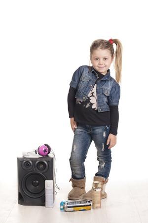 a girl listening music rap Stock Photo - 17458286