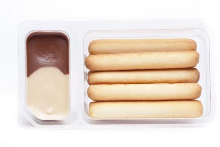 gressins: des gressins � manger avec de la cr�me de noisettes ou d'arachides Banque d'images