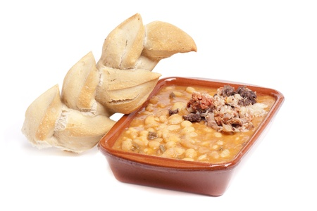 Typical Spanish dish with beans and meat