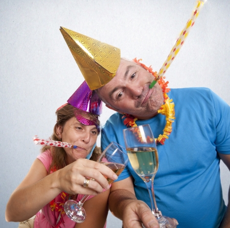 a couple celebrating the new year photo