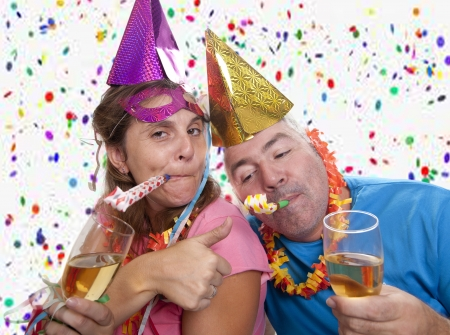 a couple celebrating the new year