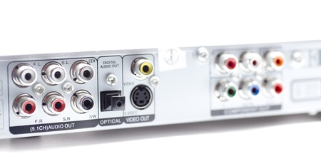 RCA connectors for stereo audio and video Stock Photo