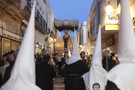 viacrucis: Virgin out in procession through the streets at Easter Editorial