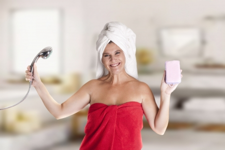 a woman with a towel on Head, after leaving the bathroom Stock Photo - 18495551