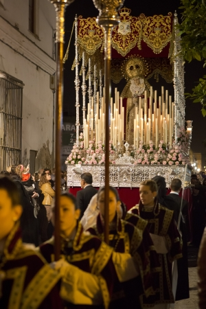 semana santa: Image of Our Virgin of Consolation at Easter, the streets of the city