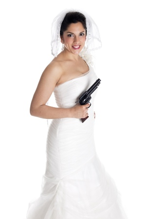 a bride with a gun with a lot of danger photo