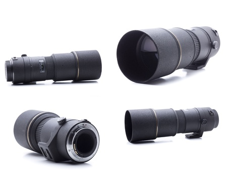 telephoto: a telephoto lens, black color, and focal length 300mm