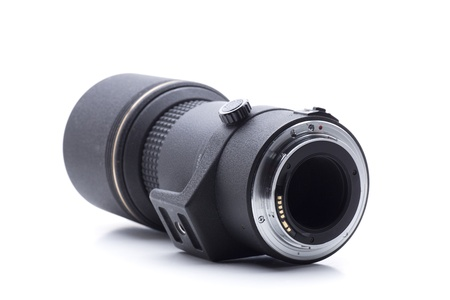 telezoom: a telephoto lens, black color, and focal length 300mm