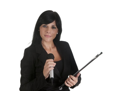 an executive, lecturing with a microphone photo