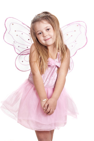 a blonde girl with her fairy costume