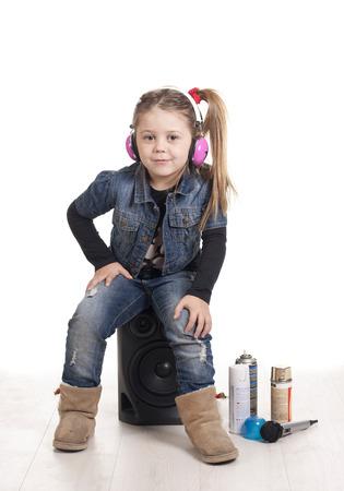 a girl listening music rap