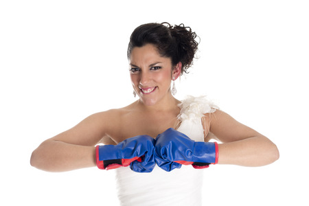 a bride with boxing gloves as a sign of struggle