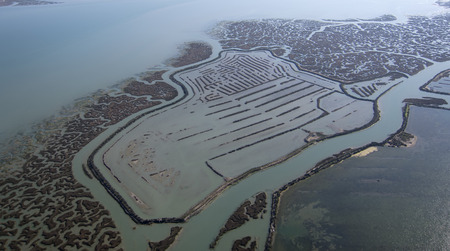 Aerial photo taken with drone, the typical marsh in southern Spain Stock Photo