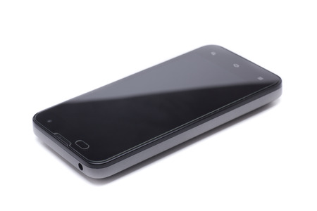 electronica: last generation mobile phone with screen protector, tempered glass