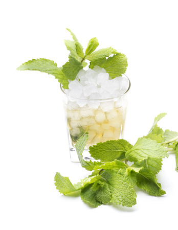 alcochol: called a mint julep cocktail, made with bourbon and mint