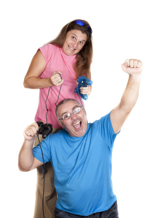 a girl, assaulting the winner of a game of video games photo