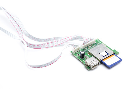usb port: a card with inputs usb port and sd card