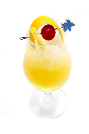 a refreshing cocktail with orange juice, rum as main ingredients Stock Photo