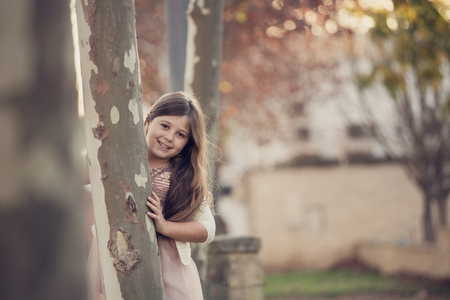 a teenage girl in the autumn, in a park Stock Photo