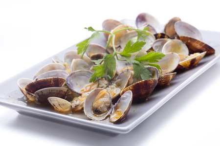 bivalve: a bowl of clams, a dish maritime of Cádiz (Spain) Stock Photo