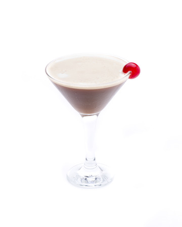 a cocktail served in martini glass, with chocolate as the main ingredient Stock Photo