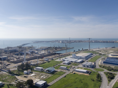 View of the bay of cadiz, with its shipyard in front