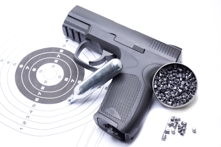 compressed air gun that shoots pellets for sports practice