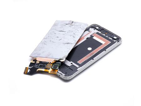 broken screen of a last generation smartphone Banco de Imagens