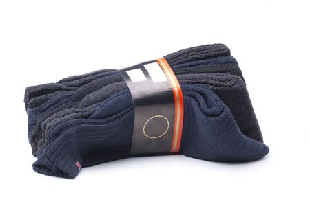 a pack of five multi-colored men's socks