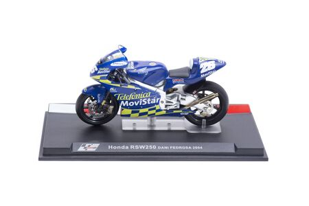 Puerto Real, Spain - January 3th, 2020: A model of a Honda RSW250, piloted by Dani Pedrosa in 2004 報道画像
