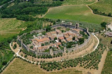 Aerial view of Monteriggioni town