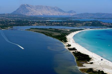 cinta: --aerial view of Tavolara island and La Cinta beach-Sardinia-Italy Stock Photo