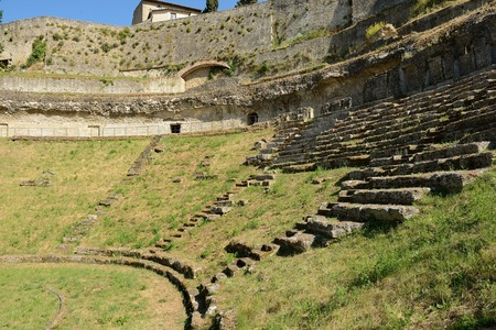 volterra: Antique Roman Amphitheatre in Volterra, Tuscany-Italy Stock Photo
