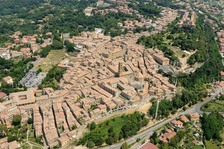 volterra: Aerial view of Volterra old tuscany town in Italy