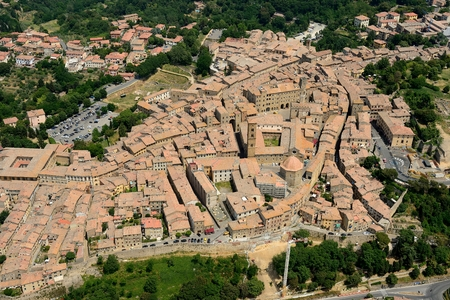 Aerial view of Volterra old tuscany town in Italy