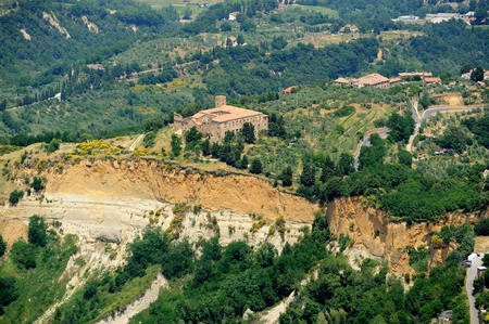 volterra: Balze of Volterra tuscany town in Italy aerial view