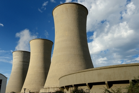 geothermal: Geothermal energy production towers in Larderello-Tuscany Italy Stock Photo