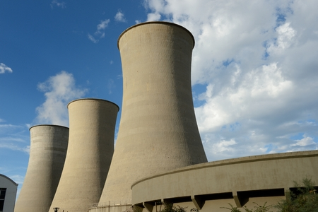 energy production: Geothermal energy production towers in Larderello-Tuscany Italy Stock Photo