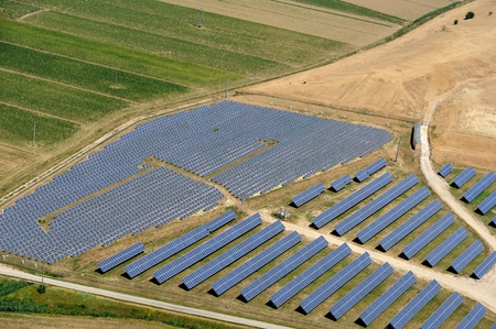 aerial view of solar panel installation in Tuscany's country