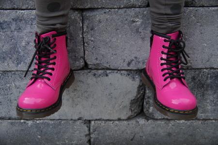 skinhead: Nice pink alternative girl or woman Military skinhead shoes - sitting tough